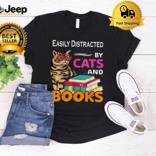 Easily Distracted By Cats And Books love reading & cat T Shirt B09FRQVC39